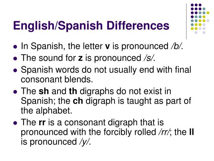 English/Spanish Differences
