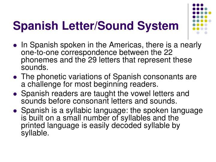Spanish Letter/Sound System