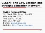 glsen the gay lesbian and straight education network