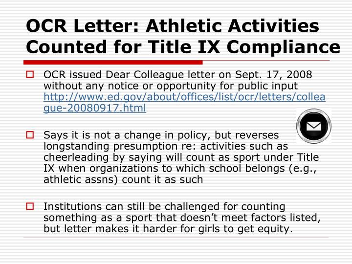 OCR Letter: Athletic Activities Counted for Title IX Compliance