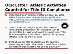 ocr letter athletic activities counted for title ix compliance