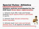 special rules athletics