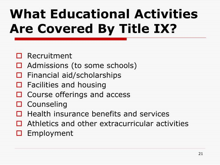 What Educational Activities Are Covered By Title IX?