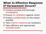 what is effective response if harassment occurs