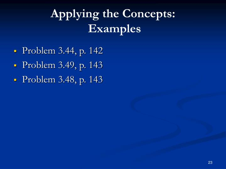 Applying the Concepts: