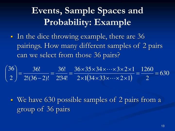 Events, Sample Spaces and Probability: Example