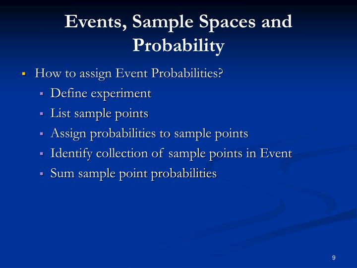 Events, Sample Spaces and Probability