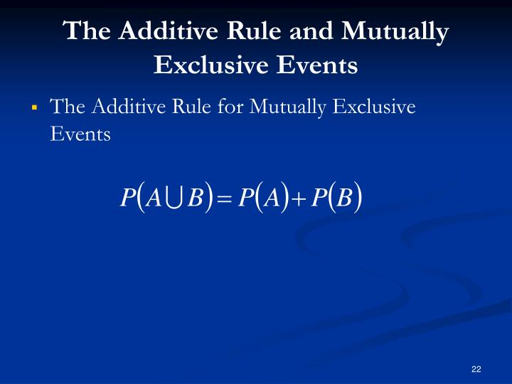 The Additive Rule and Mutually Exclusive Events