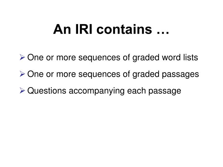 An IRI contains …