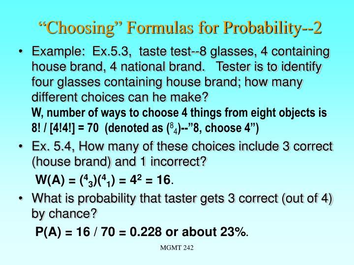 """""""Choosing"""" Formulas for Probability--2"""