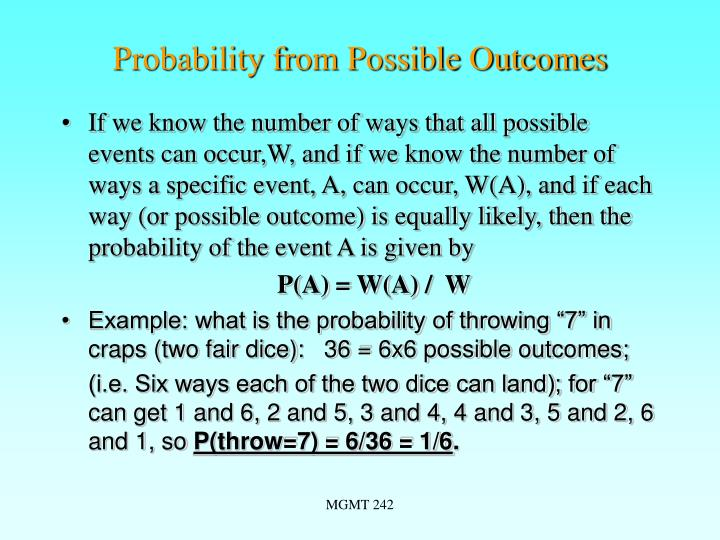 Probability from possible outcomes