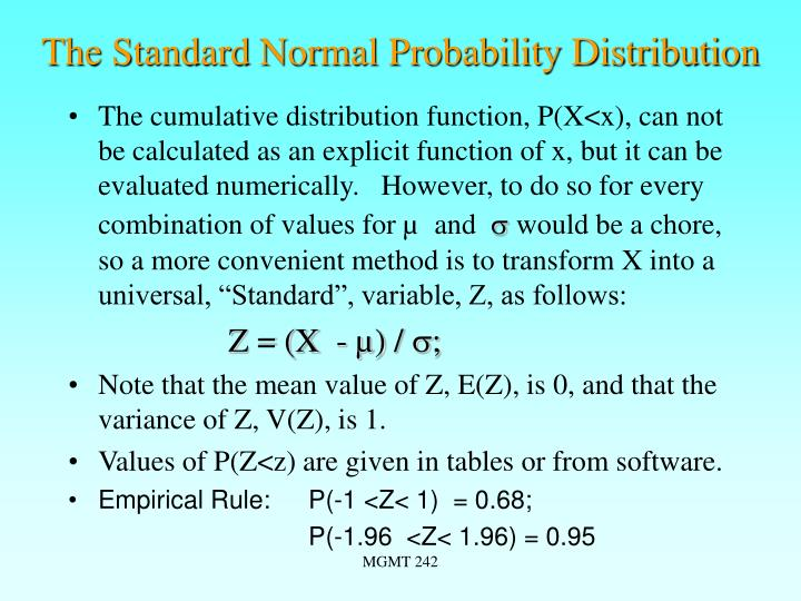 The Standard Normal Probability Distribution
