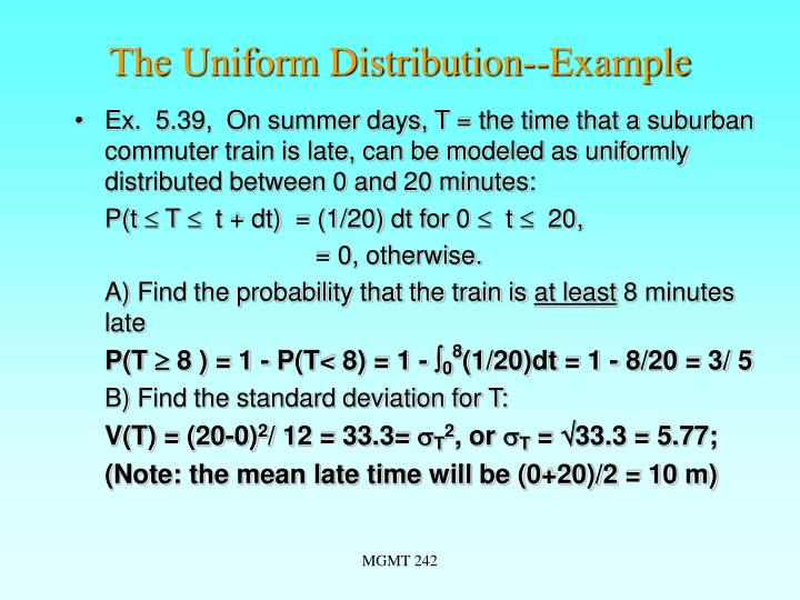 The Uniform Distribution--Example