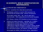 iii diversite sens et signification des independances