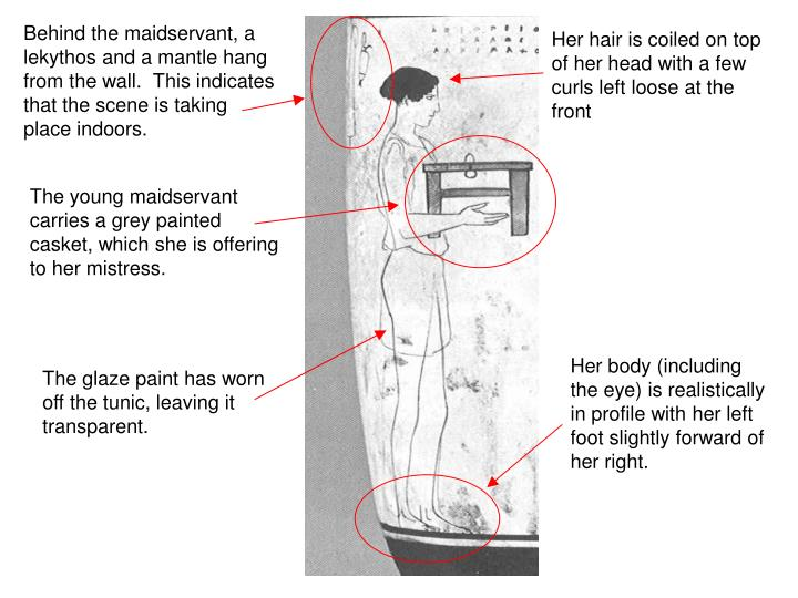 Behind the maidservant, a lekythos and a mantle hang from the wall.  This indicates that the scene is taking place indoors.