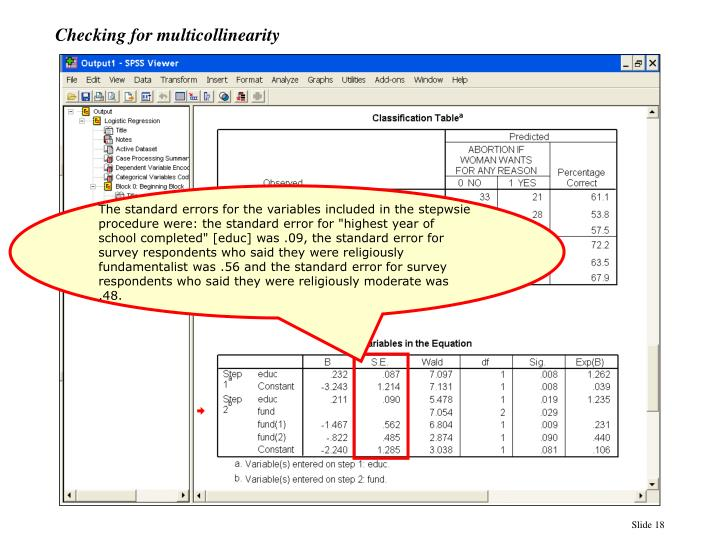 Checking for multicollinearity