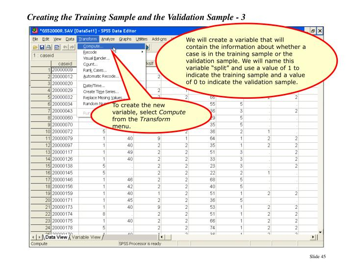 Creating the Training Sample and the Validation Sample - 3
