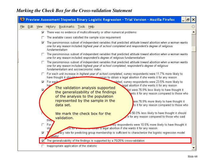 Marking the Check Box for the Cross-validation Statement