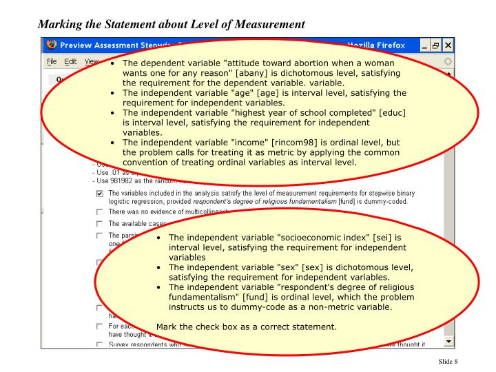 Marking the Statement about Level of Measurement