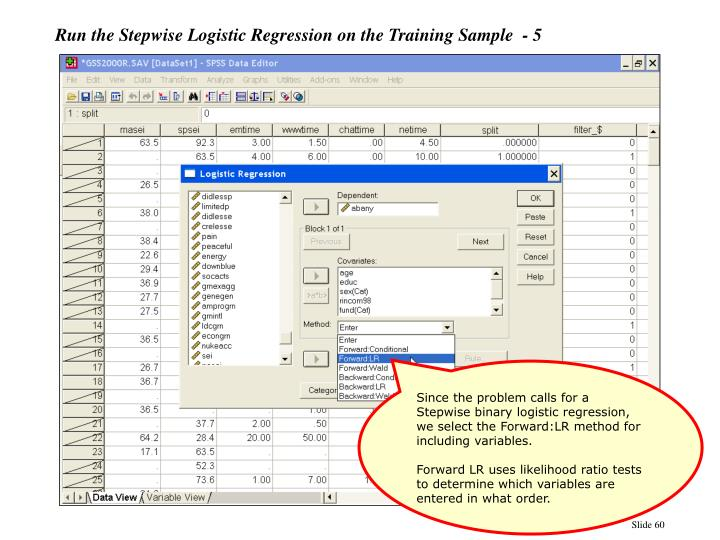 Run the Stepwise Logistic Regression on the Training Sample  - 5