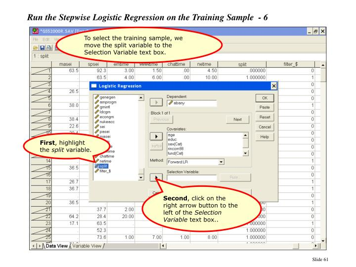 Run the Stepwise Logistic Regression on the Training Sample  - 6