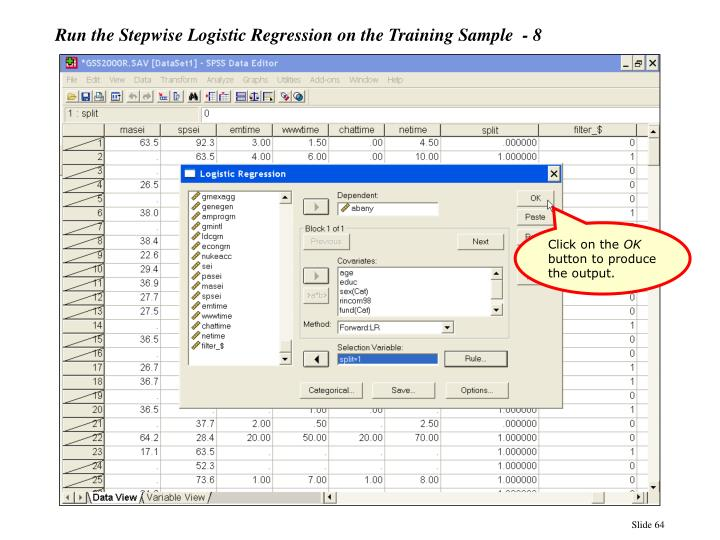 Run the Stepwise Logistic Regression on the Training Sample  - 8