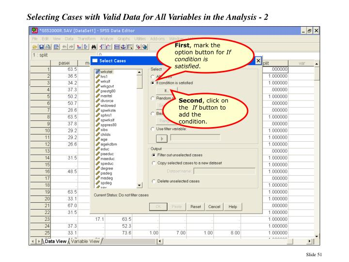 Selecting Cases with Valid Data for All Variables in the Analysis - 2