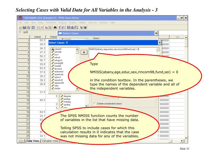 Selecting Cases with Valid Data for All Variables in the Analysis - 3