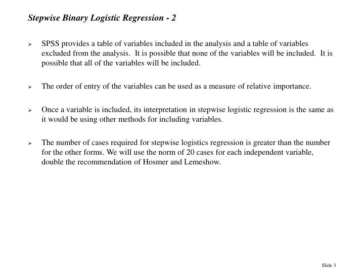 Stepwise binary logistic regression 2