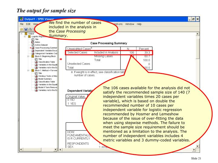 The output for sample size