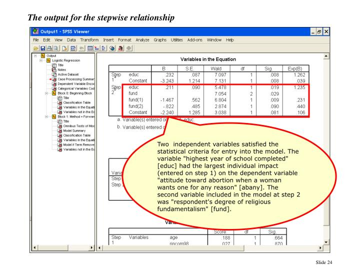 The output for the stepwise relationship