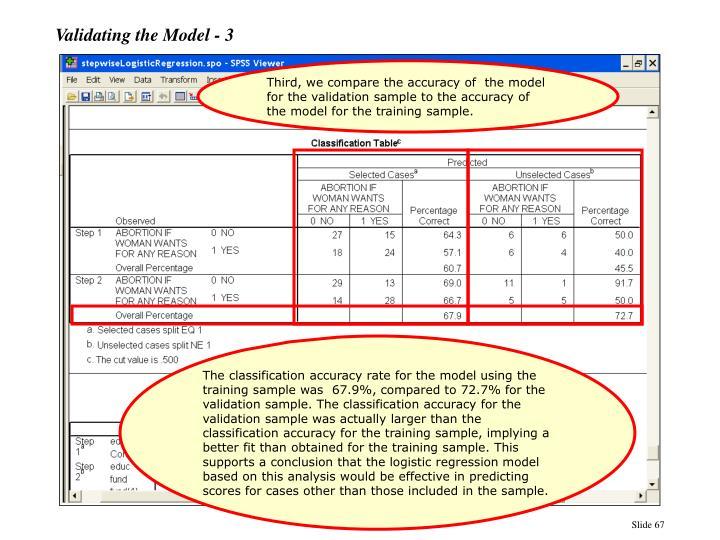 Validating the Model - 3