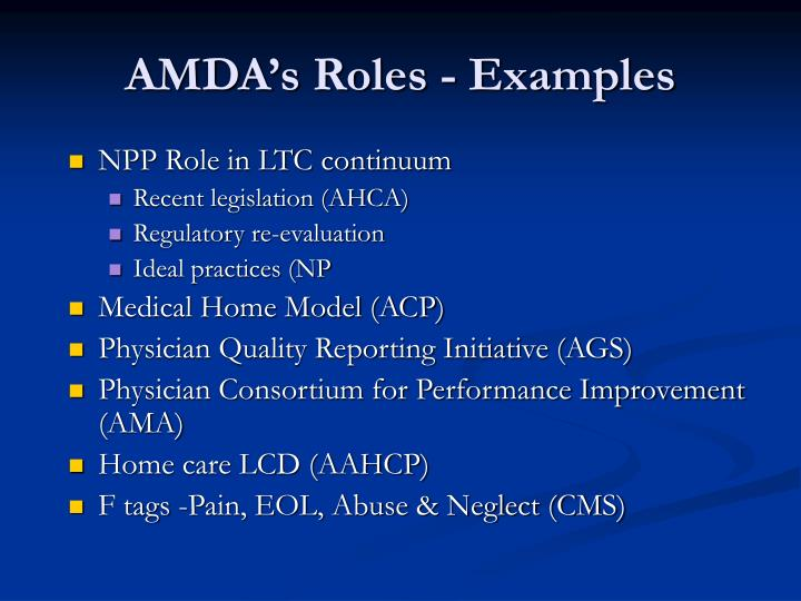 AMDA's Roles - Examples