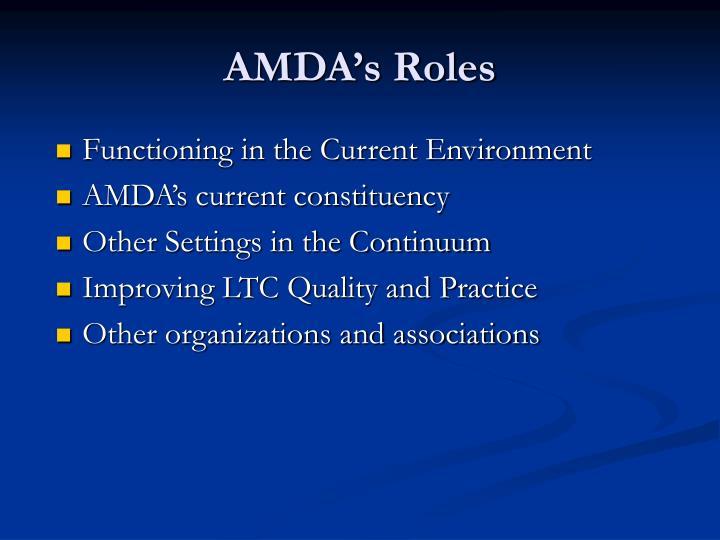 AMDA's Roles