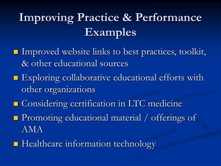 Improving Practice & Performance