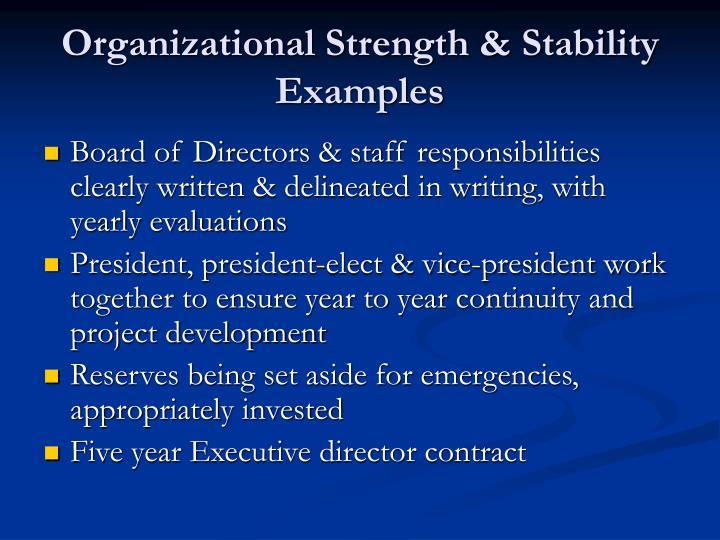 Organizational Strength & Stability