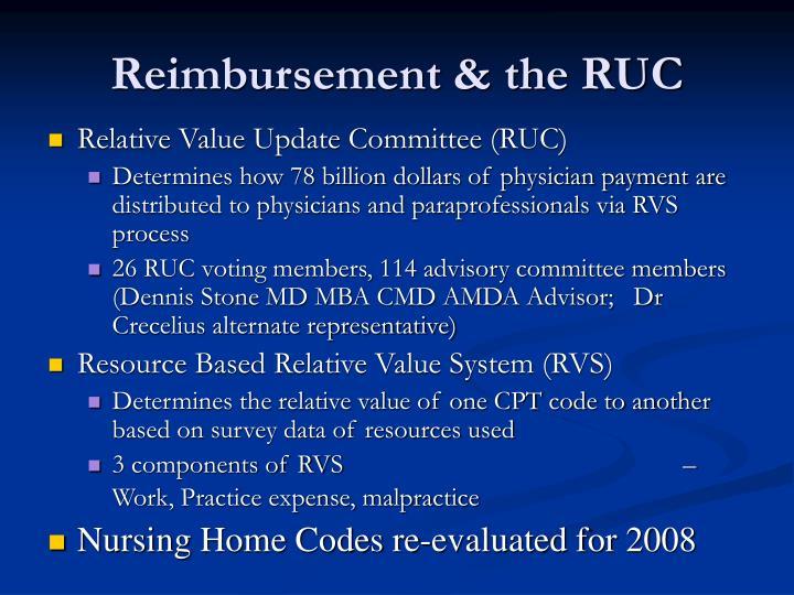 Reimbursement & the RUC