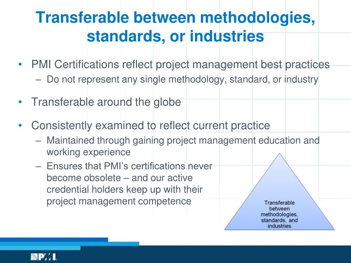 Transferable between methodologies, standards, or industries