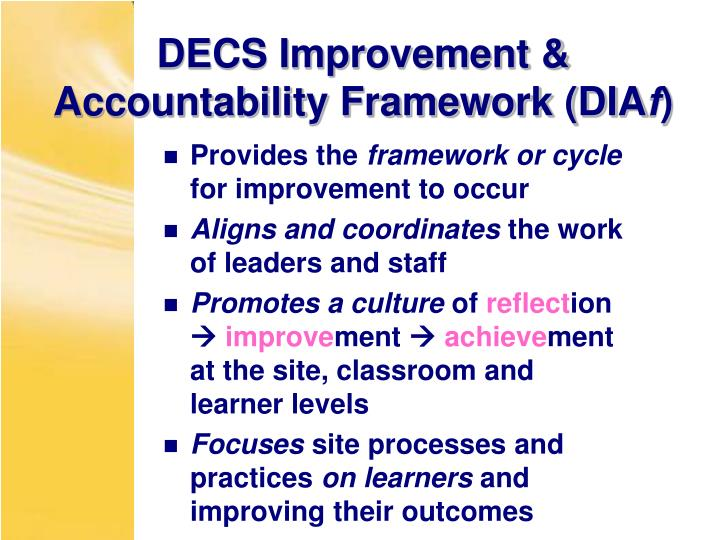 DECS Improvement & Accountability Framework (DIA