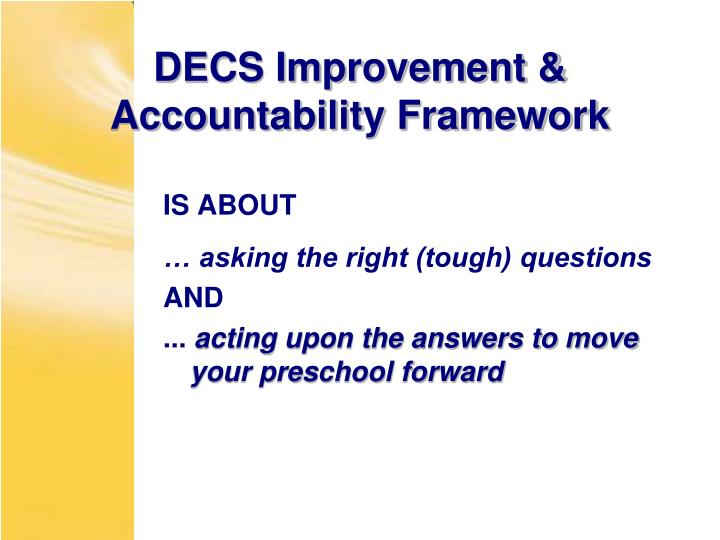 DECS Improvement & Accountability Framework