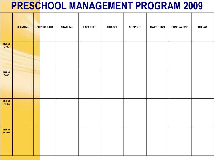 PRESCHOOL MANAGEMENT PROGRAM 2009