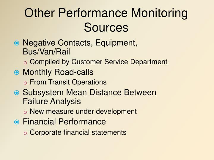 Other Performance Monitoring Sources