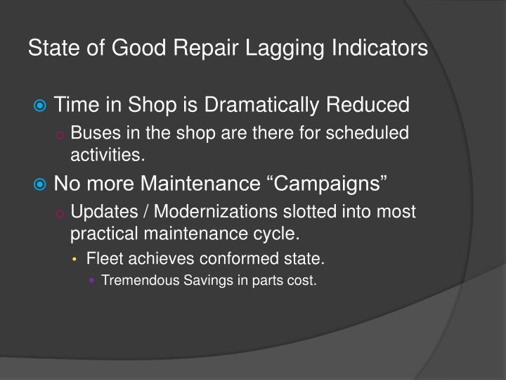 State of Good Repair Lagging Indicators