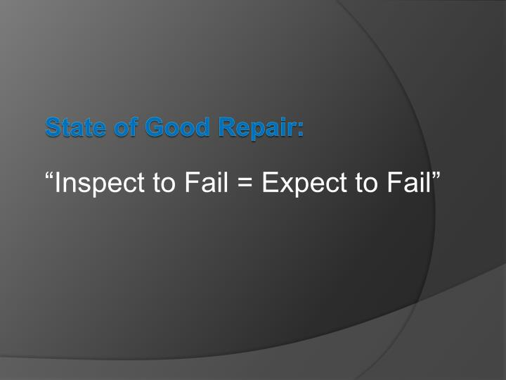 """""""Inspect to Fail = Expect to Fail"""""""