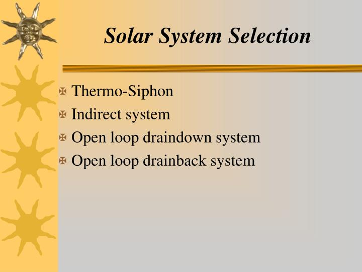 Solar System Selection