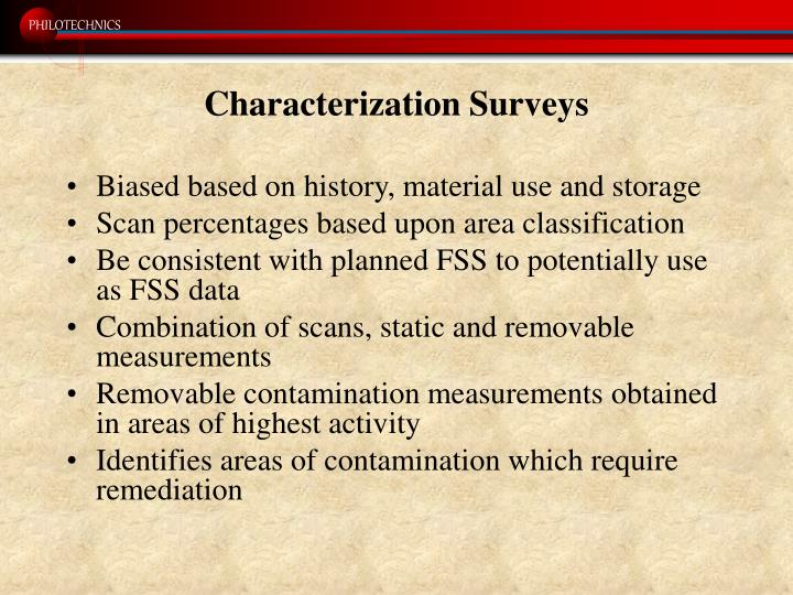 Characterization Surveys