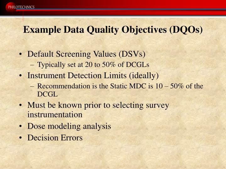 Example Data Quality Objectives (DQOs)