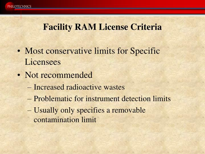 Facility RAM License Criteria