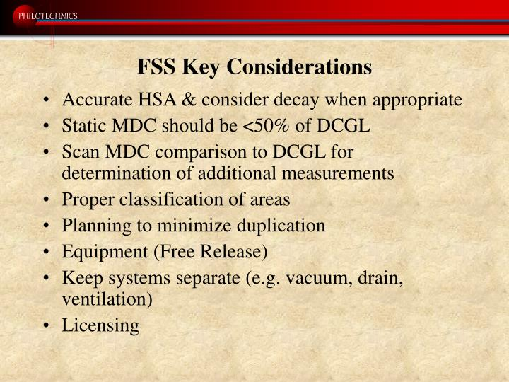 FSS Key Considerations