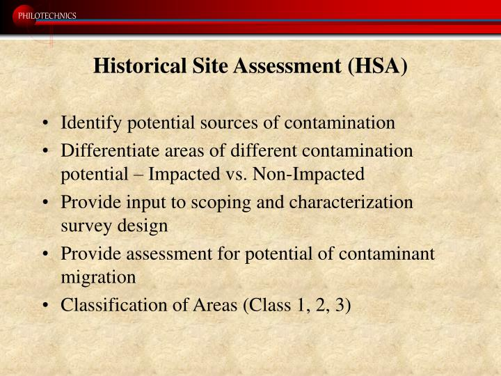 Historical Site Assessment (HSA)